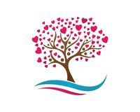 Love tree with heart leaves Stock Photos