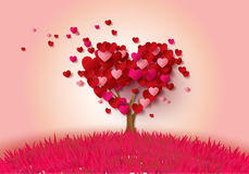 Love tree with heart leaves. Paper cut style Stock Image