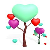 Love tree with hearts isolated on white Stock Photos