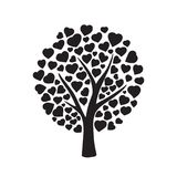 Love tree with hearts. Shaped leaf on white background. Nature. Beautiful vector monochrome silhouette illustration Stock Image
