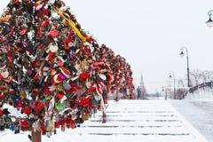 Love Tree with honeymooner locks Stock Photo
