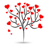 Love tree with hot red heart leaves different sizes on white background. Vector illustration Royalty Free Stock Image