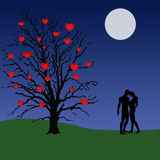 Love tree illustration. Illustration of a tree with hearts for fruit on it and a couple standing under a moon lit sky royalty free illustration