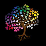 Love Tree - Illustration. A love tree with colorful hearts Royalty Free Stock Image