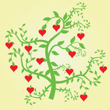 Love tree. Illustration of a green tree with red hearts Royalty Free Stock Image