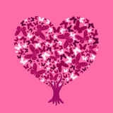 Love tree illustration. Valentine tree from butterflies. Love tree illustration. Valentine tree, leaf from butterflies Stock Photo
