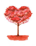 Love tree illustration. Watercolor painting Royalty Free Stock Photo