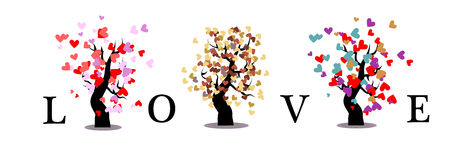 Love tree isolated background Stock Images