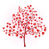 Love tree with leaves from hearts Stock Photo