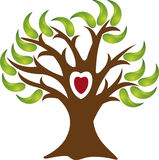 Love tree logo. Illustration art of a love tree logo with isolated background Stock Photos