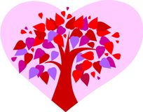 Love tree on pink heart background Stock Image