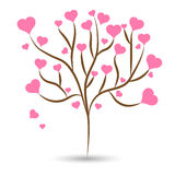Love tree with pink heart leaves different sizes on white background. Vector illustration Stock Photography