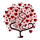 Love tree. With red heart leaves Royalty Free Stock Photo