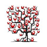 Love tree with red hearts for your design Royalty Free Stock Photo