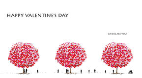 Love tree series, valentine's day - 01 of 06. Trees blossom with hearts, valentine theme design Royalty Free Stock Image