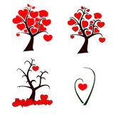 Love tree set. Set of  love trees with heart shape leaves for your design Royalty Free Stock Image