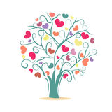 Love tree. Tree with colorful hearts Stock Photos