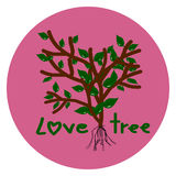Love Tree, Tree in pink circle  on white Royalty Free Stock Photography