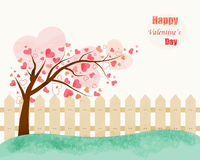 Love Tree vector illustration of vintage style. Valentine's Day Royalty Free Stock Photos