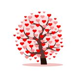Love Tree With Heart Leaves. Vector Illustration Royalty Free Stock Image