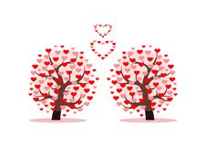 Love Tree With Heart Leaves. Vector Illustration Stock Image