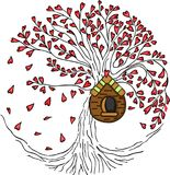 Love tree with wooden cage Royalty Free Stock Images
