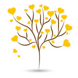 Love tree with yellow heart leaves different sizes on white background. Vector illustration Stock Photography