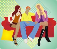 Love triangle. Three people in love, beautiful vector illustration Stock Photography