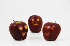 Love triangle of an apple broken heart from two apples love each other Stock Photos