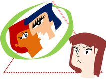 Love Triangle. An illustration of a love triangle with three people at its center Stock Image