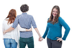 Love triangle - isolated Royalty Free Stock Images