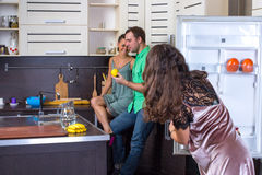 Love triangle on the kitchen Stock Images