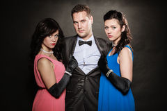 Love triangle. Two women and one man. Betrayal. Stock Images