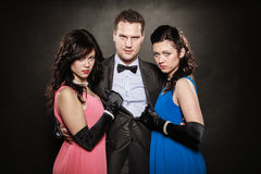 Love triangle. Two women and one man. Betrayal. Royalty Free Stock Photos