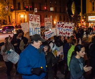 Love Trumps Hate Protest March - Saratoga Springs, NY. More than 200 people marched in Saratoga Springs, New York in a peaceful protest afer the 2016 stock image