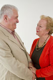 We Love and Trust Eachother. Older male and female looking at eachother happily and trustfully Royalty Free Stock Photo