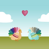 Love Turkeys. Two colorful turkeys face each other in a field with a heart floating over their heads Stock Photos