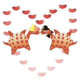 Love turtles. This is the illustration of valentine card with a love turtles Stock Image