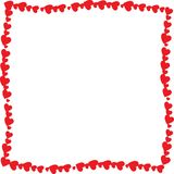 Love twisted frame made of cartoon red different sized hearts. Isolated on white background with empty space inside. Cute Valentines or wedding vector photo Royalty Free Stock Photo