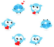 Cute blue twitter birds with red hearts. Love twitter birds in different poses set. Vector Illustration royalty free illustration