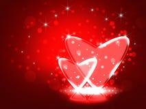Love.Two玻璃心脏的例证。 库存图片