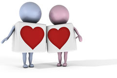 Love between two 3d characters. Two 3d characters in love on white background Stock Illustration