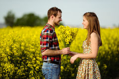 Love for two. On a fine spring meadow Royalty Free Stock Image