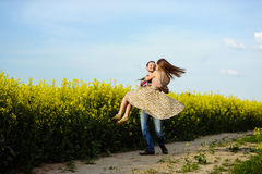 Love for two. On a fine spring meadow Stock Image