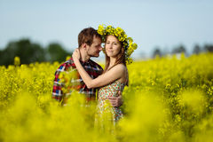 Love for two. On a fine spring meadow Royalty Free Stock Images