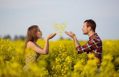 Love for two. On a fine spring meadow Stock Photos