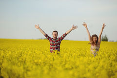 Love for two. On a fine spring meadow Royalty Free Stock Photos