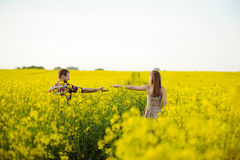 Love for two. On a fine spring meadow Royalty Free Stock Photography