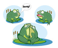 Love two frogs. Two frogs on marsh express emotions Stock Images