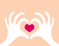 Love - two hands with a heart  Stock Image